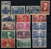 PP135446/ FRANCE – YEARS 1935 - 1940 USED SEMI MODERN LOT – CV 205 $