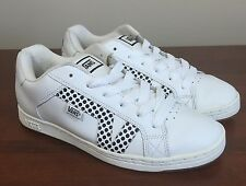 Vans Lavi Leather Skate Shoes Sneakers White Black Polka Dots Women's 10
