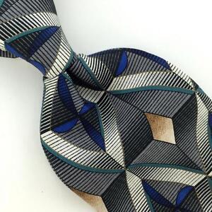 CONTE DI MILANO USA Tie Diamond GRAY Green Silk Classic Necktie I2-249 New Ties