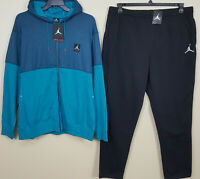 NIKE JORDAN FLIGHT FLEECE SWEATSUIT HOODIE +PANTS SPACE BLUE RARE NEW (SIZE 3XL)