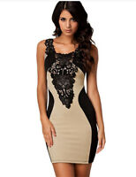 Sexy Beige Stretch Party Cocktail Dress Size 8 10 14 Ladies Formal Dresses