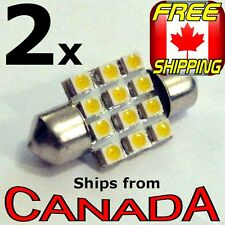 2x WARM WHITE 32mm LED Festoon Bulb 12x LED chips - 12v