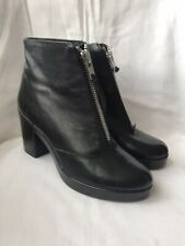 New TOPSHOP Black Leather Zip Front Boots - UK Size 6 / EU 39 - New Without Box