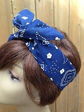 Wire Headband Wired Dolly Bow  Blue Bandanna  Rockabilly Hair Scarf  Turban