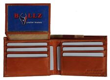 Slim Bifold Leather Mens Wallet Credit Card-ID Holder-Doubles Bills Compartment