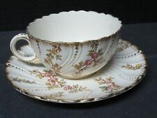 Rare 1900 Sarreguemines  Louis XV Cup & Saucer - Gold Leaf Pearls & Scalloping