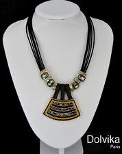 Luxus Lederkette Halskette Dolvika Paris Kette Leder Kristall Strass Koralle