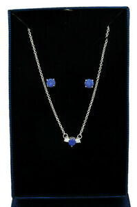 AAA Quality 3.58 Cts SET TANZANITE  & WHITE SAPPHIRE .925 SILVER * New in Box *