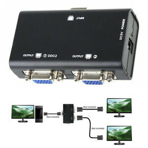 1 PC to 2 Monitor 1 to 2 Split Screen VGA SVGA Video LCD Splitter Box Adapter