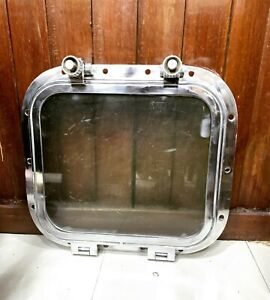 Old Vintage Nautical Marine Ship Rectangle Porthole Window Aluminum 2 Dogs