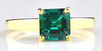 Real 14KT Yellow Gold Octagon Shape 1.40CT Natural Green Emerald Engagement Ring