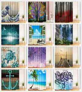Fabric Shower Curtain Rustic Wooden Wall Forest Flower and Animal Theme 71x71""