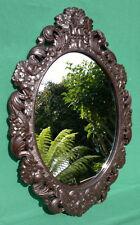 """Antique Faux bois sculpté plâtre Miroir c1910 forêt noire style 26.25"""" en 18.25"""