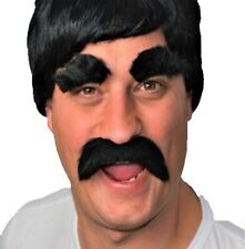"""UK Disp /"""" BULK BUY/""""  Six White Thick Droop Self Adhesive Fancy Dress Moustaches"""
