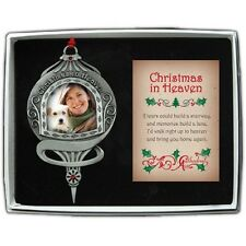 Christmas In Heaven Memorial Ornament Photo Personalize Pewter New Gift Box