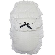 Beautiful Black Ribbon & White Romany Broderie Anglaise Footmuff Cosy Toes
