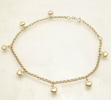 Adjule Puffed Heart Rolo Chain Ankle Bracelet Anklet Real 14k Yellow Gold
