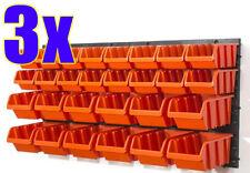 3x Regal mit Stapelboxen orange 30-tlg. Werkstatt 3er Set Sichtboxen Lagerkästen