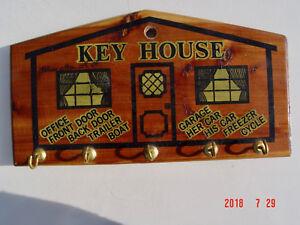 Vintage Key Holder Key House White Mts NH Wood & Brass