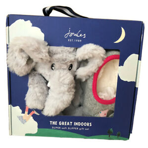 BNIB Joules Girls Slipper And Soft Toy Gift Set Grey Elephant- Size UK 1-2