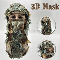 3D GHILLIE BREATHABLE MASK FACE CAMO CAMOUFLAGE LEAVES WOODS PAINTBALL   @C