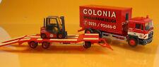 Herpa 308182 MAN F 90 Container-LKW Goldhofer TU3 Gabelstapler Colonia 1 87 NEU