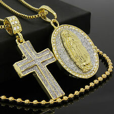 "14k Gold Plated 2Cross & Round Guadalupe Cz Bundle Pendant 30"" Box & Free Chain"