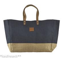 House Doctor Shopper Jute blau senf Bag Tasche Einkaufstasche Ledergriffe Strand