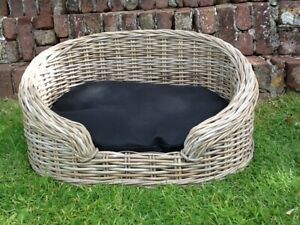 GORGEOUS GREY SMALL OVAL RATTAN LUXURY PET BED BASKET WITH REMOVABLE CUSHION