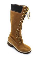 Timberland Womens Lace Up Beige Leather Knee High Boots Shoes Size 7