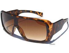 GOGGLE STYLE SHIELD AVIATOR SUNGLASSES Large Flat Top Demi Design Frame Sunnies