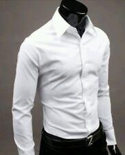 Camicia Uomo bianca Slim Manica lunga 100 cotone mis S M L XL Top Quality