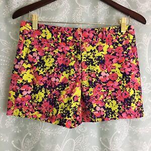 Ann Taylor Loft 00 Casual Shorts Linen Blend Pink Yellow Floral XXS