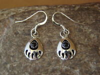 Navajo Indian Jewelry Sterling Silver Black Onyx Bear Paw Dangle Earrings!