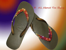 Havaianas flip flops using SWAROVSKI crystals VOLCANO color changing crystal