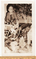1940s Dreamy Boy Under Tinsely Xmas Tree w Electric Train VINTAGE Photo SNAPSHOT