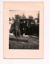 Black & white original vintage photo Car Lady Serviceman Army Navy 1940's 1950's