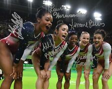 USA Gymnastics Gold Medal Rio Group Signed 8X10 Photo Rp Simone Biles Kocian Aly