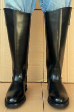 Men's Leather Black Riding Police Patrol Boots Motorcycle Boot Handmade UK 5-12