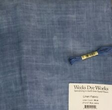 Weeks Dye Works 32 count linen cross stitch embroidery Blue Jeans 2107  sky blue
