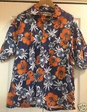 O'Neill Hawaiian Shirt Blue Aloha Wear Beach Surf Camp Blue Mens Medium M Vtg