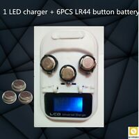Rechargeable Coin Cell Battery 1 LED Charger + 6PCS LR44 Battery High Quality