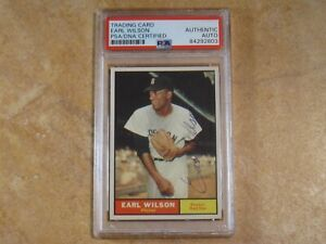 EARL WILSON SIGNED AUTOGRAPHED 1961 TOPPS BOSTON RED SOX CARD #69 RARE! PSA