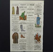 "Hunting Horse Riding Apparel ""The Field The Country Gentleman's Newspaper"" c1877"