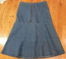 Denim Skirt size 12 Long Boho Maxi Jean Festival Hippie Flared tiered