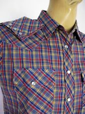 SHIRT Western Check Snap BLOUSE Long sleeve TOP Sz 36 Cowgirl Plaid Vintage Slim