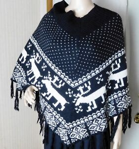 Steve Madden Women's Nordic Poncho One Size Fits Most  Acrylic/Wool Blend