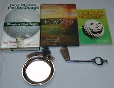Golf Gift Lot Books Ash Tray Bottle Opener Devotion In His Grip Golfers Dictiona