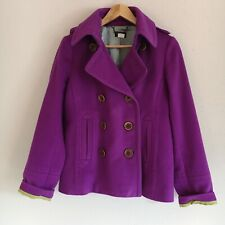 J, Crew Womens Size Medium Classic 100% Wool Purple Pea Coat Style 99724 Winter