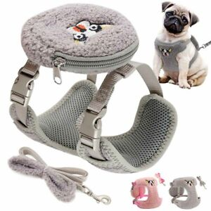 Fleece Pet Dog Harness and Leash with Treat Bag Soft Mesh Walking Vest Small Dog